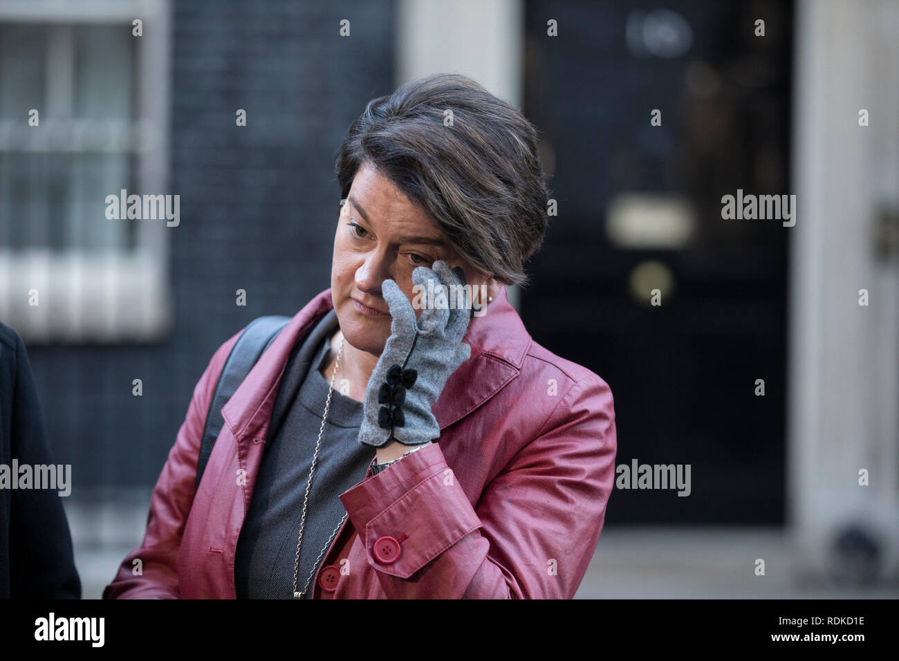 Arlene Foster, Northern Ireland politician and leader of the Democratic Unionist Party outside No.10 Downing Street, Whitehall, London, England, UK - Stock Image