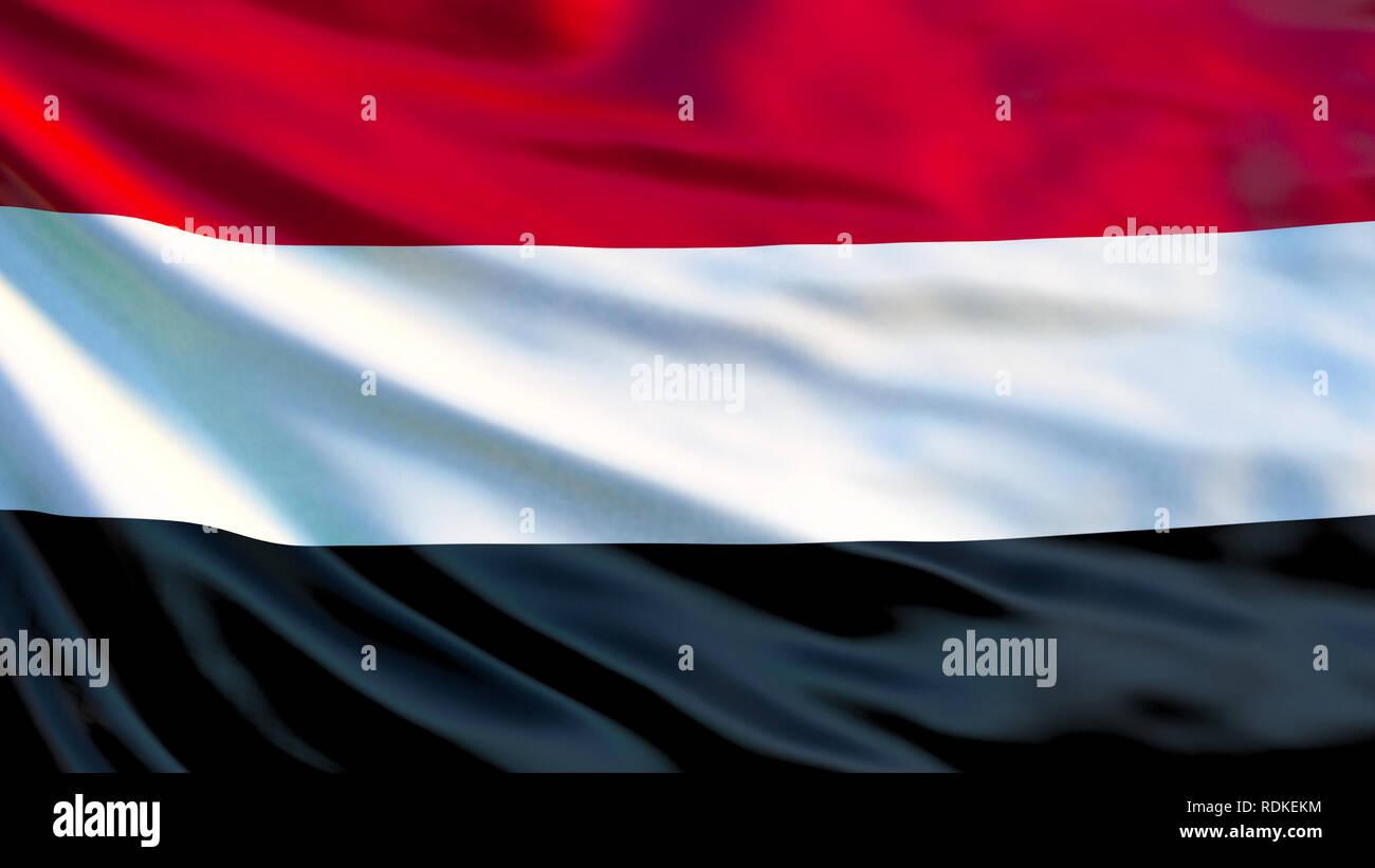 Yemen flag. Waving flag of Yemen 3d illustration. Sana'a Stock Photo