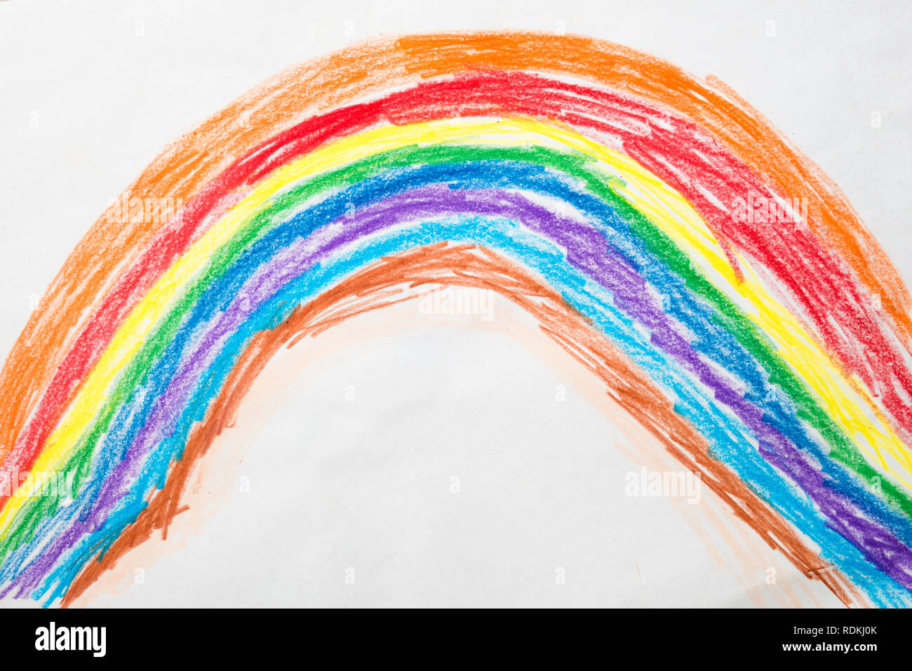 Colorful kid's drawing of a rainbow Stock Photo: 232156531 ...