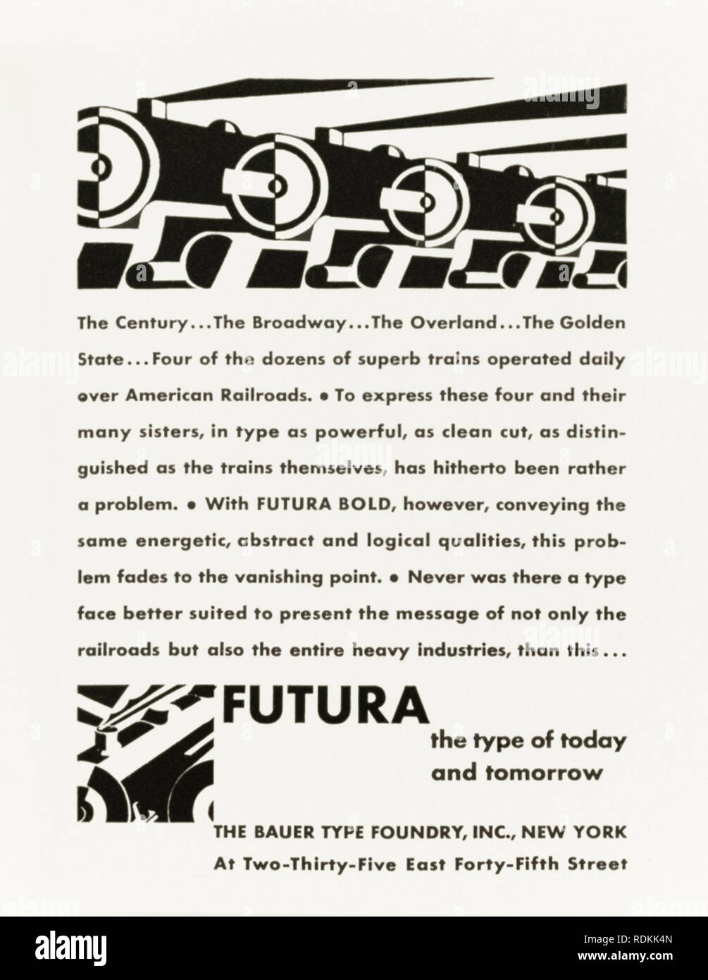 """FUTURA the type of today and tomorrow (die Schrift unserer Zeit)"" 1930 advert by The Bauer Type Foundry, Inc., NYC on the introduction of Futura, a sans-serif typeface designed by Paul Renner (1878-1956) in 1927,  first release in North America. The typeface has aged well and is still widely used in popular culture. Credit: Private Collection / AF Fotografie - Stock Image"