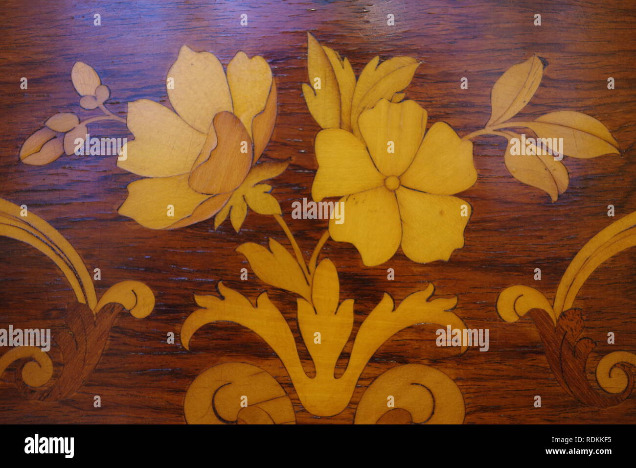 Wooden Inlayed Decorated Panel of an Edwardian Upright Piano of Rose Wood. Exeter, Devon, UK. - Stock Image