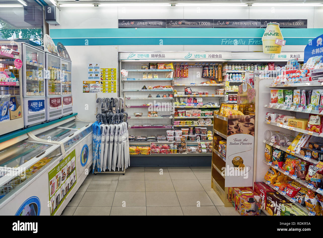 SEOUL, SOUTH KOREA - CIRCA MAY, 2017: inside GS25 convenience store in Seoul. GS25 is a convenience store brand in South Korea. Stock Photo