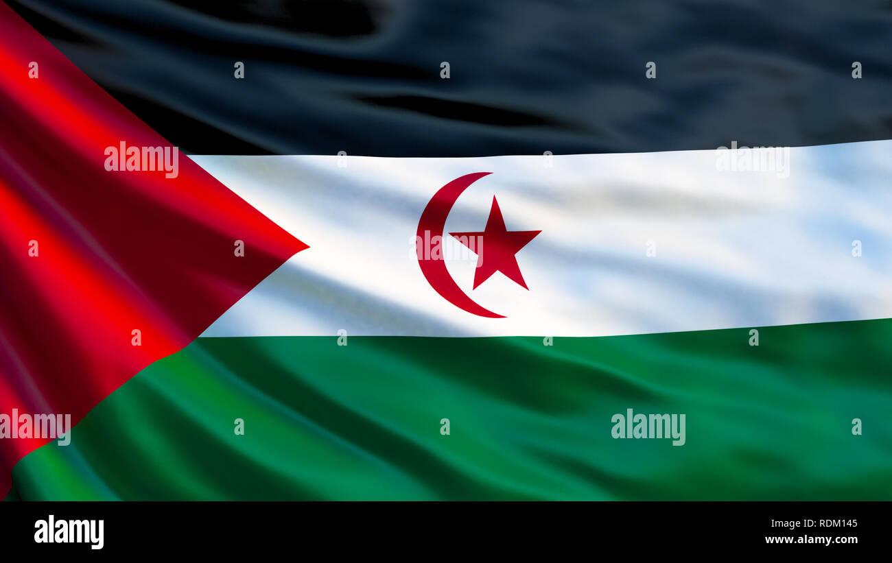 Sahrawi flag. Waving flag of Sahrawi 3d illustration. Western Sahara - Stock Image