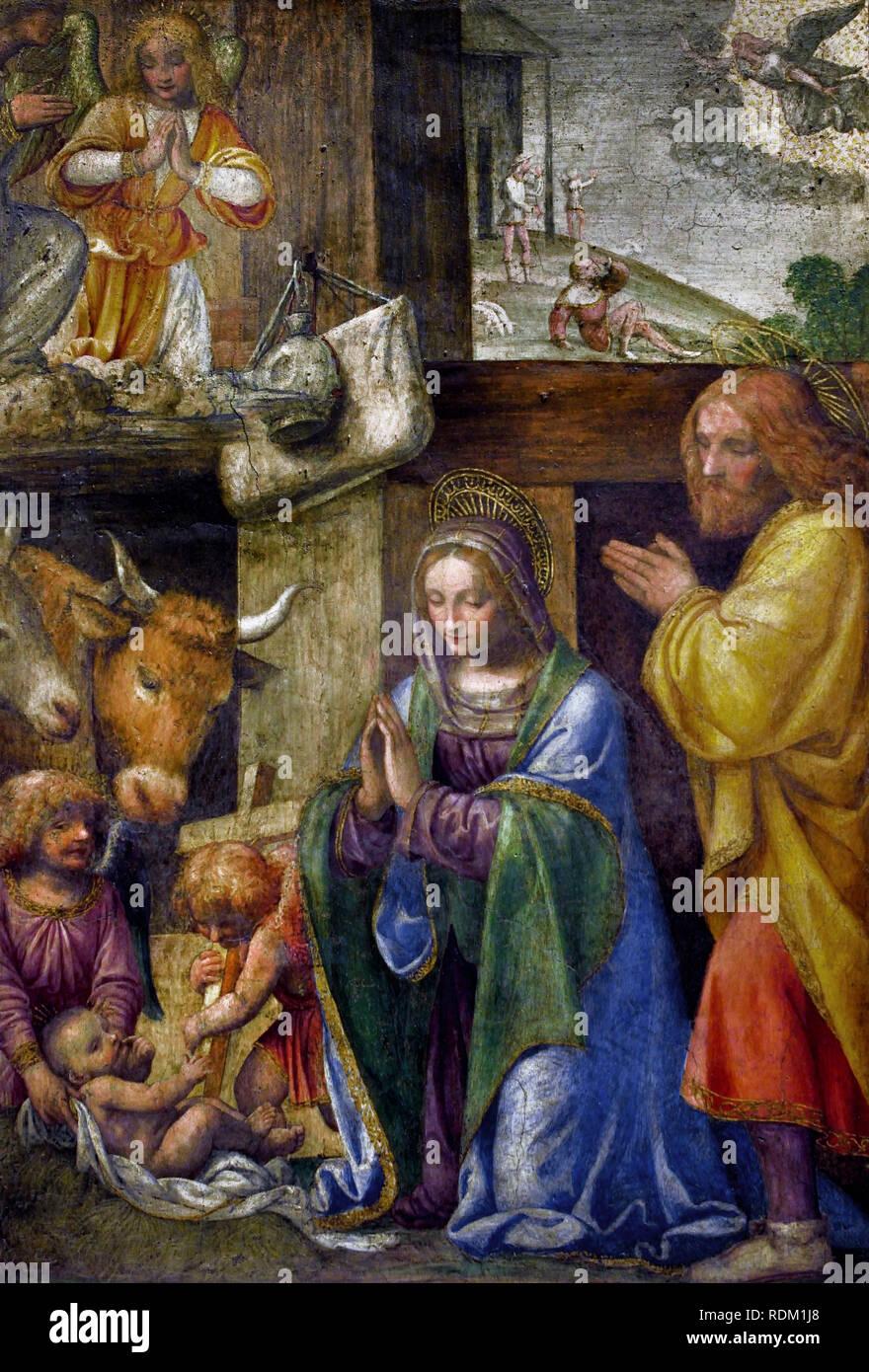 Nativity and the announcement to the shepherds by, Bernardino LUINI, 1485 - 1532, Italy, Italian, (fresco) - Stock Image