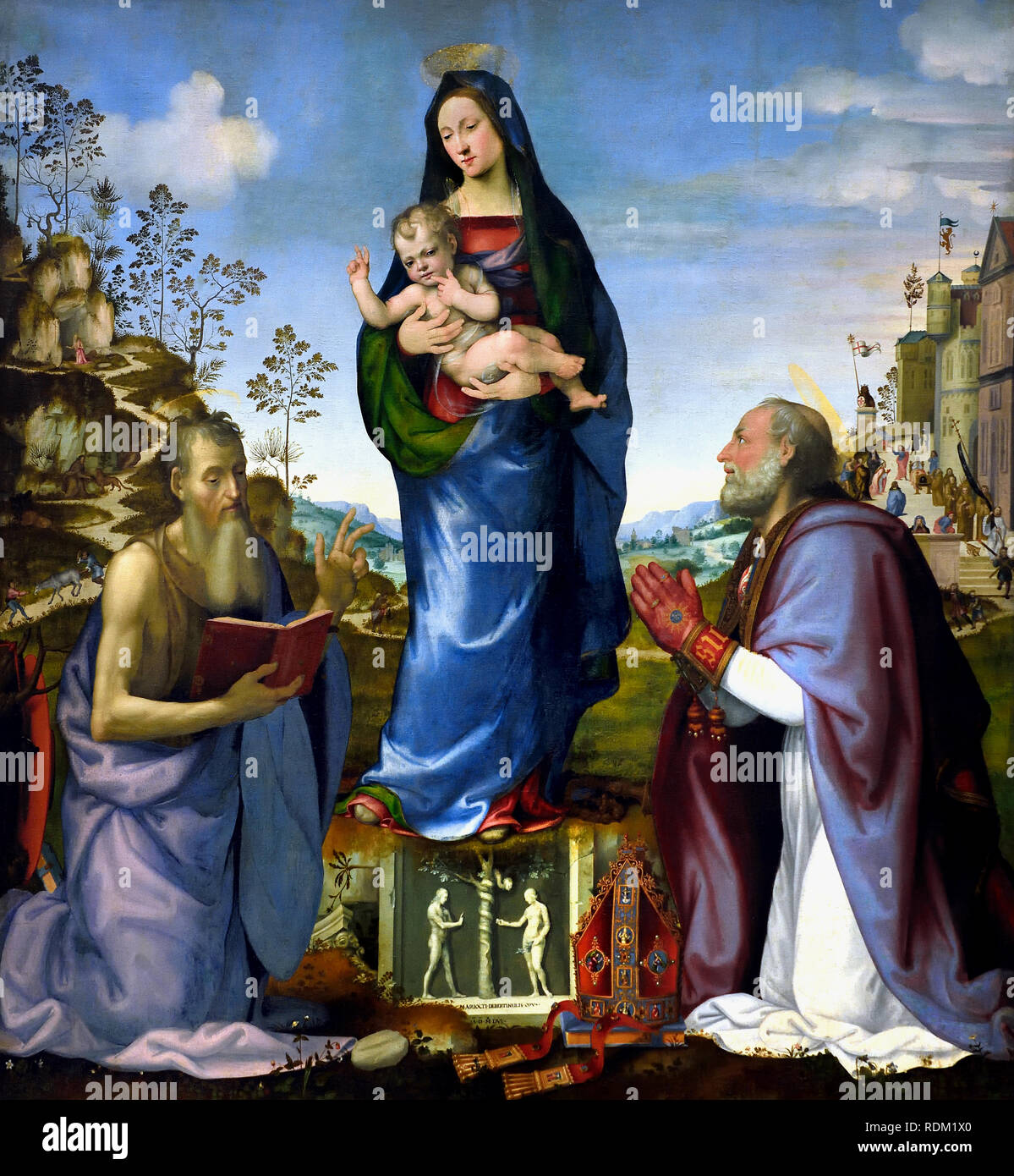Madonna and Child with Sts. James and Zenobius 1506 by Mariotto Albertinelli (1474-1515) and Franciabigio (-1525) Italy, Italian, - Stock Image