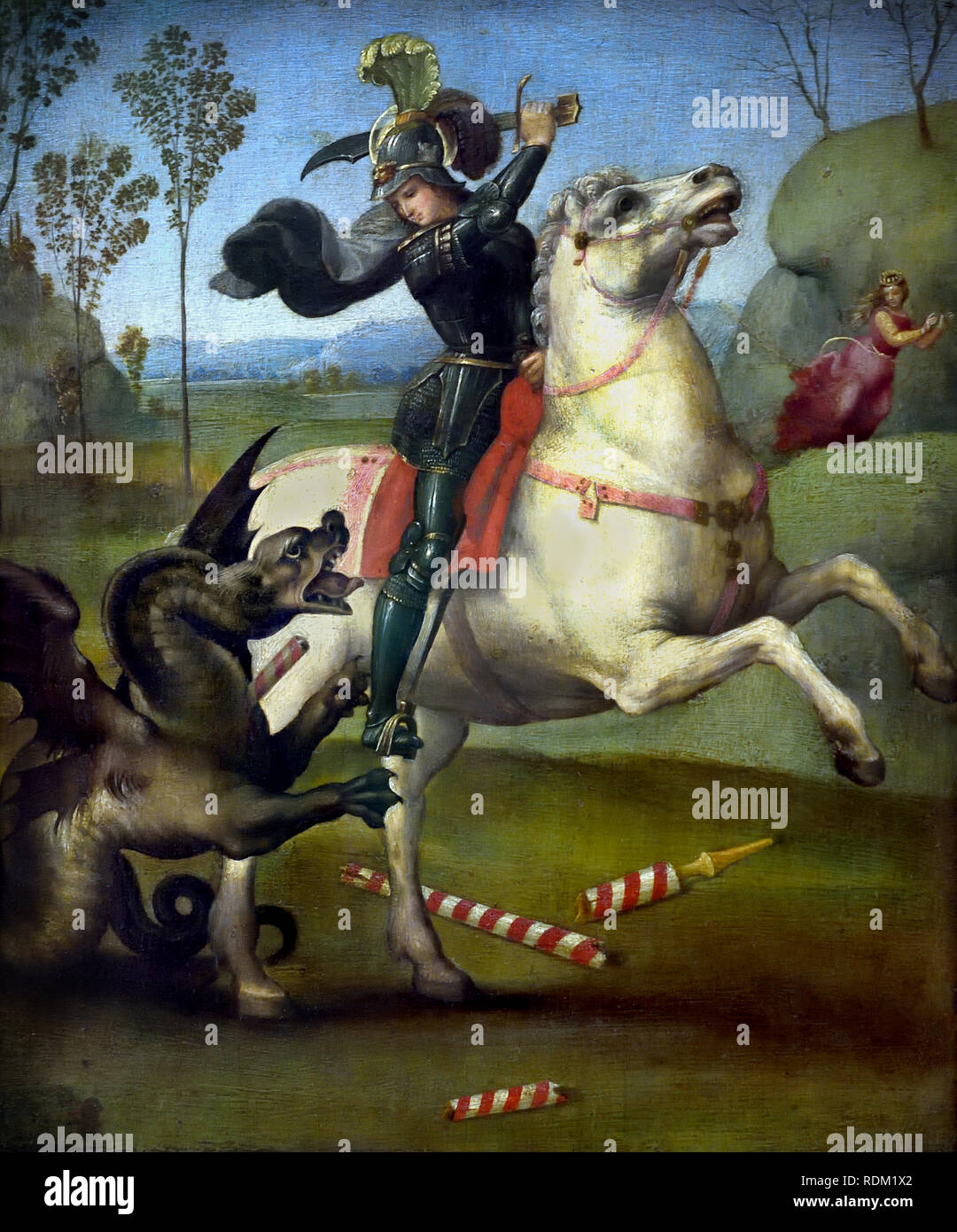 St. George or St. George and the Dragon  by Raphael - Raffaello Sanzio da Urbino 1483 –1520 was an Italian painter and architect of the High Renaissance Italy - Stock Image