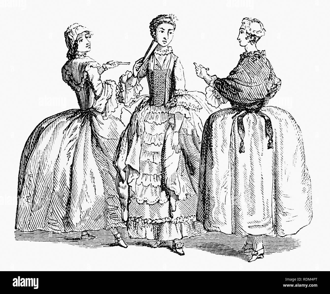 18th Century womens fashion worn during  the reign of King George II - Stock Image