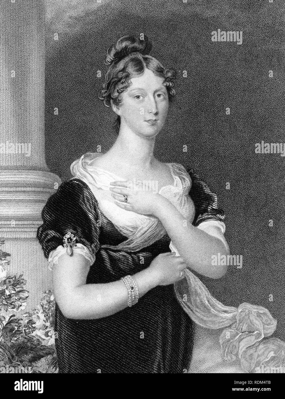 Princess Charlotte Augusta of Wales, an engraving based on a painting by Sir Thomas Lawrence before her death in childbirth in 1817 aged 21, but this version published in 1832. Her death encouraged the later marriage that led to Victoria taking the British throne - Stock Image