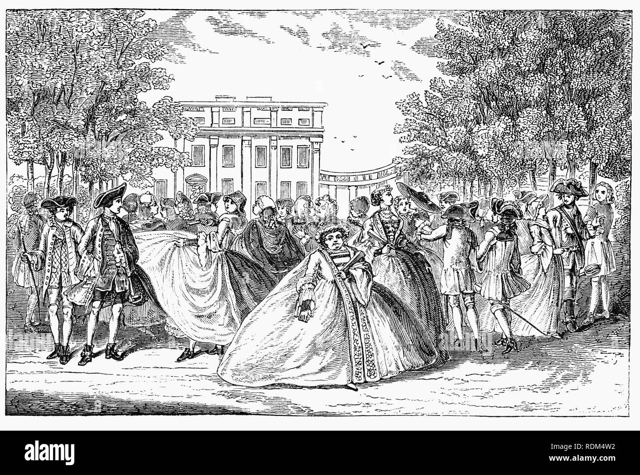 During the 18th Century, Alamode, was once the name for a fabric, but in this case meant 'in the fashion'. The gentry promenading in 1745 through St James Park in the City of London, England. Stock Photo