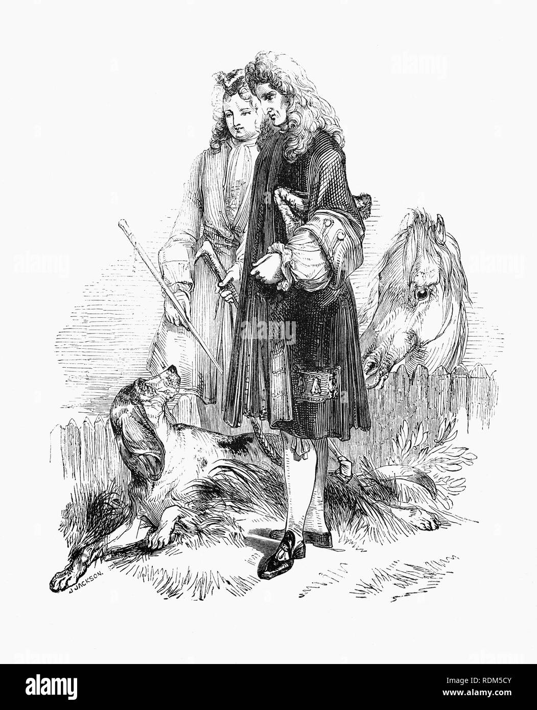 Sir Roger de Coverley, fictional character, devised by Joseph Addison, who portrayed him as the ostensible author of papers and letters that were published in Addison and Richard Steele's influential periodical The Spectator. As imagined by Addison, Sir Roger was a baronet of Worcestershire and was meant to represent a typical landed country gentleman. He was also a member of the fictitious Spectator Club, and the de Coverley writings included entertaining vignettes of early 18th-century English life that were often considered The Spectator's best feature. Stock Photo