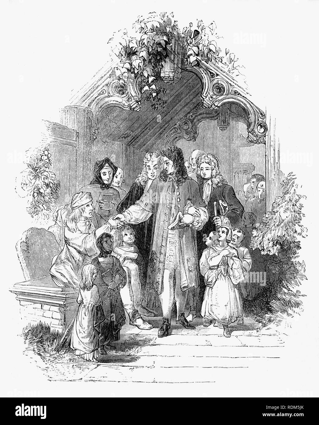 Sir Roger de Coverley, the fictional character, devised by Joseph Addison, who portrayed him as the ostensible author of papers and letters that were published in Addison and Richard Steele's influential periodical The Spectator. Seen here leaving his local church, Sir Roger, a baronet of Worcestershire and  typical landed country gentleman enquires after the welfare of his tenants. He was also a member of the fictitious Spectator Club, and the de Coverley writings included entertaining vignettes of early 18th-century English life that were often considered The Spectator's best feature. - Stock Image