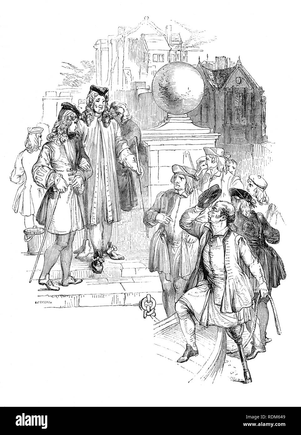 Sir Roger de Coverley, the fictional character, devised by Joseph Addison, at theTemple steps where he selects a one-legged boatman to take him to Vauxhall.  He was portrayed as the ostensible author of papers and letters that were published in Addison and Richard Steele's influential periodical The Spectator.  Sir Roger was a baronet and  a typical landed country gentleman He was also a member of the fictitious Spectator Club, and the de Coverley writings included entertaining vignettes of early 18th-century English life that were often considered The Spectator's best feature. - Stock Image