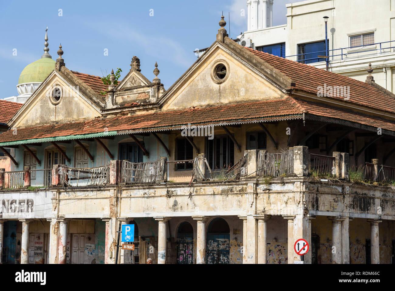Fading colonia architecture, Mysore, Mysuru, Karnataka, India - Stock Image