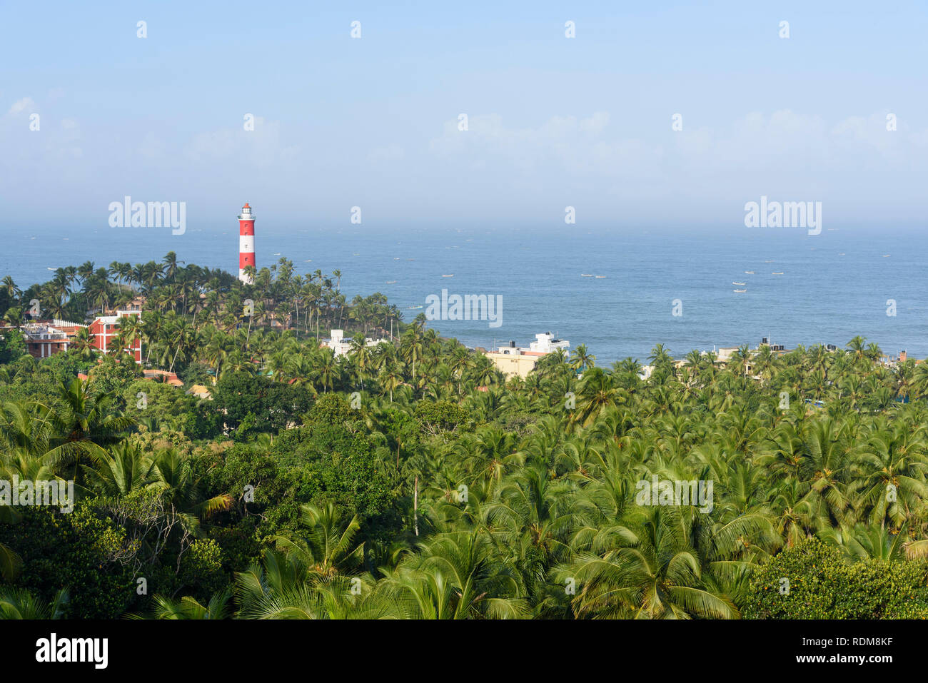 View of Vizhinjam Lighthouse, Kovalam, Kerala, India - Stock Image