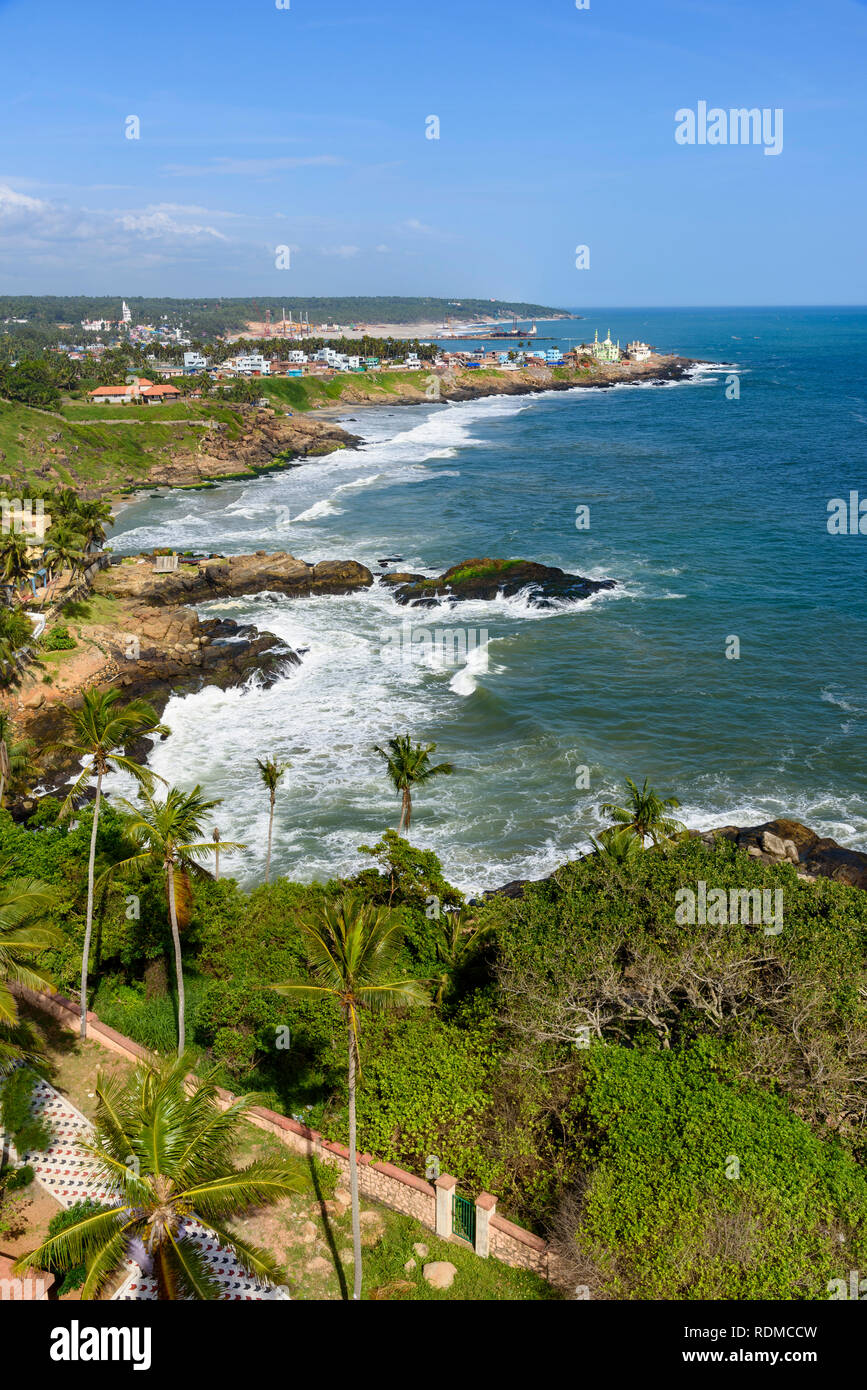 View from Vizhinjam Lighthouse, Kovalam, Kerala, India - Stock Image