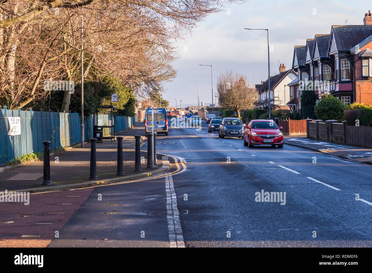 The A1027 Hartburn Lane road in Stockton on Tees, England, UK Stock Photo