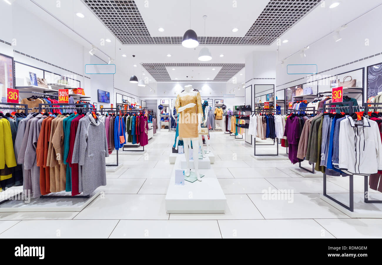 dc6f4c59263 Interior of fashion clothing store for women Stock Photo: 232177308 ...