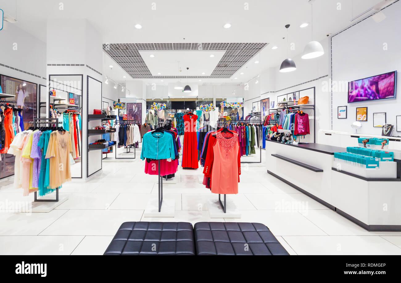 11f9cbd56887 Interior of fashion clothing store for women. luckyraccoon / Alamy Stock  Photo