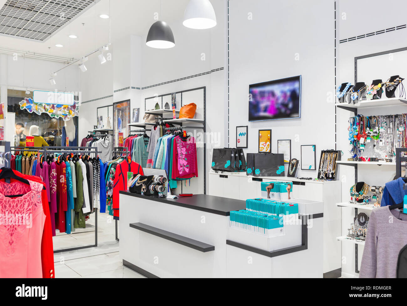 8c64ae1b4b8 Interior of fashion clothing store for women Stock Photo: 232177311 ...