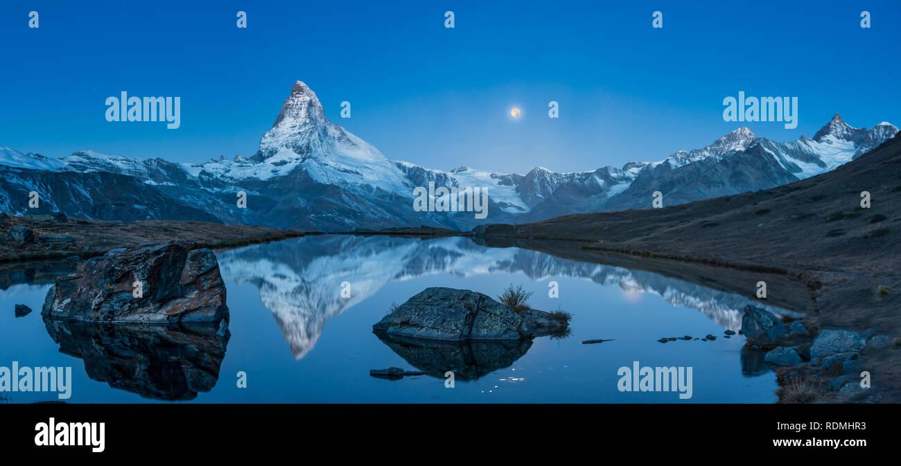Matterhorn at Supermoon - Stock Image