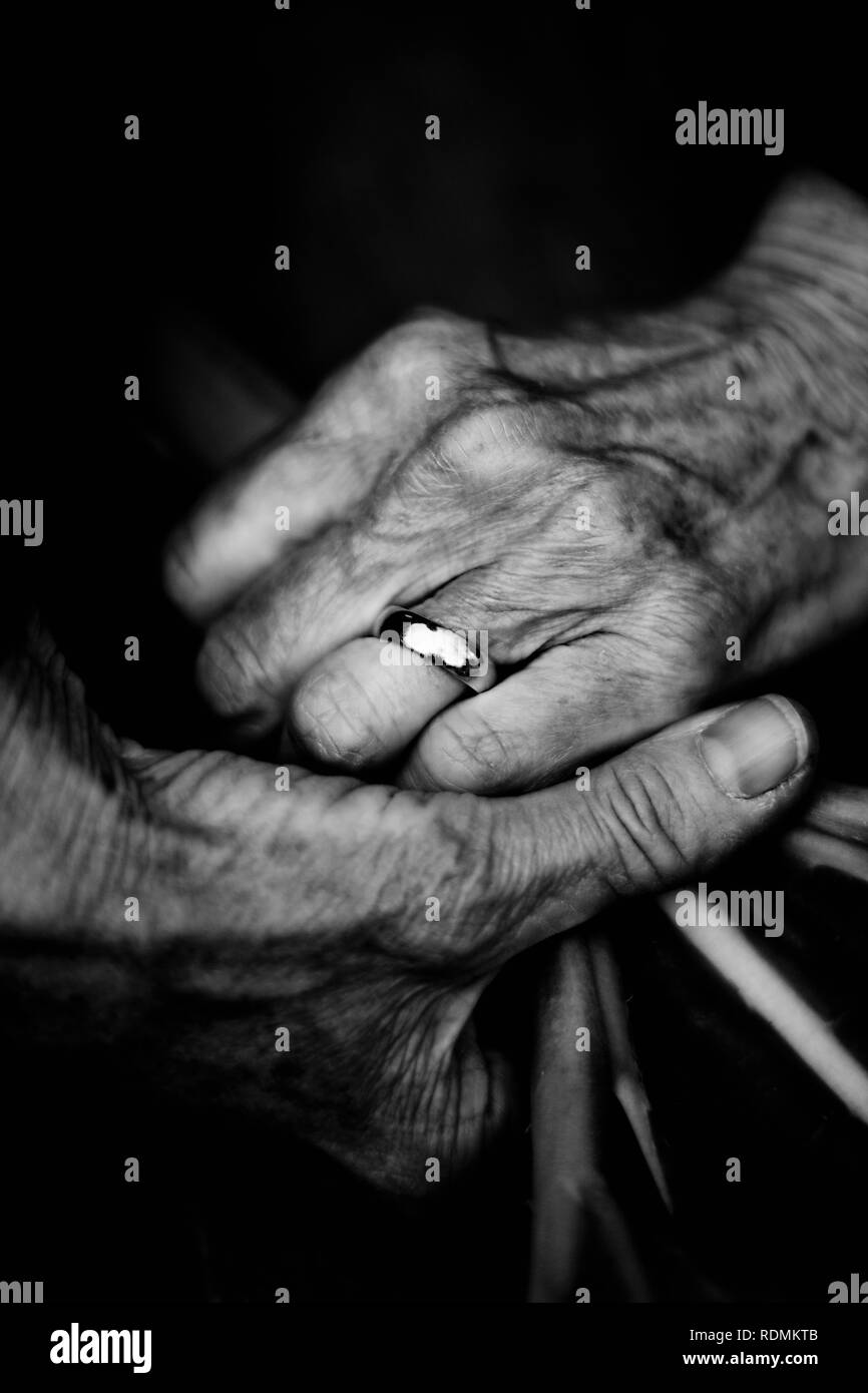 Close-up of mans hands - Stock Image