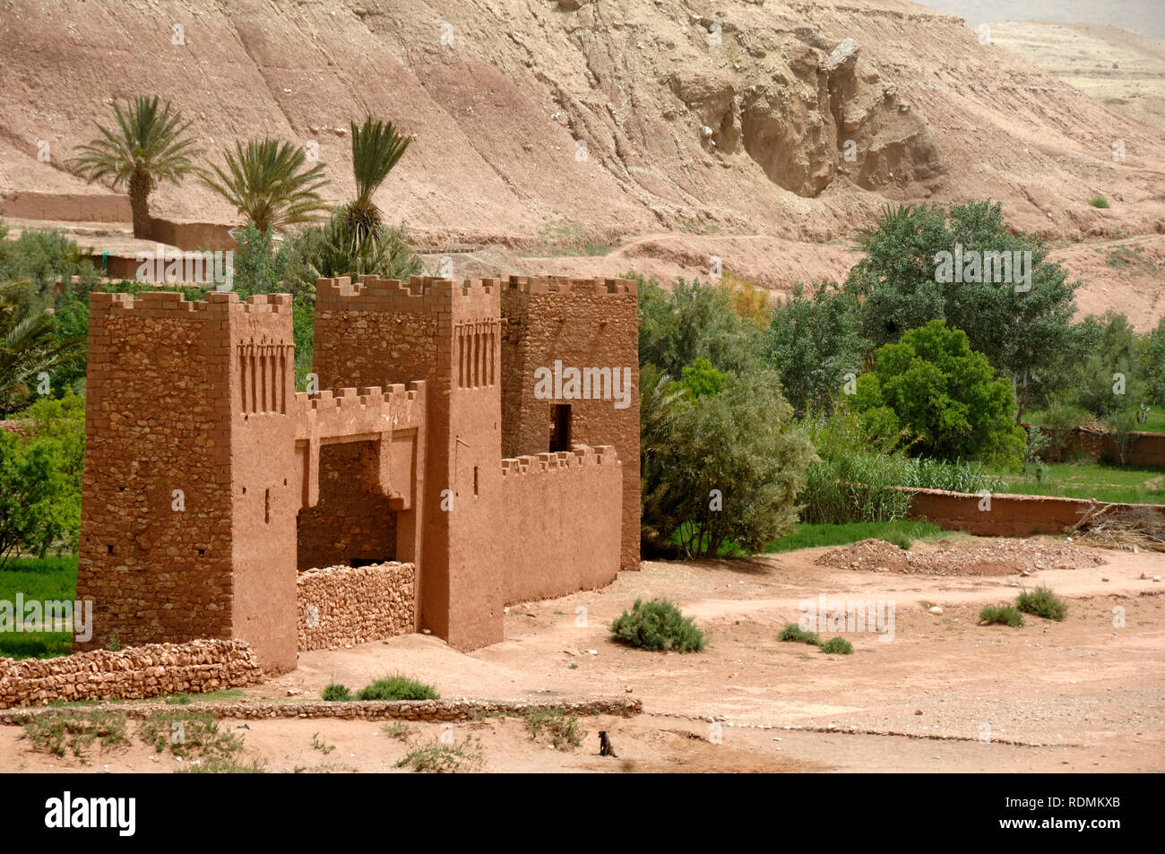 Ksar of Aït-Ben-Haddou aka Ait Benhaddou, an Adobe Earth Clay Built Fortified Village or Ighrem, and Popular Film Location Morocco - Stock Image