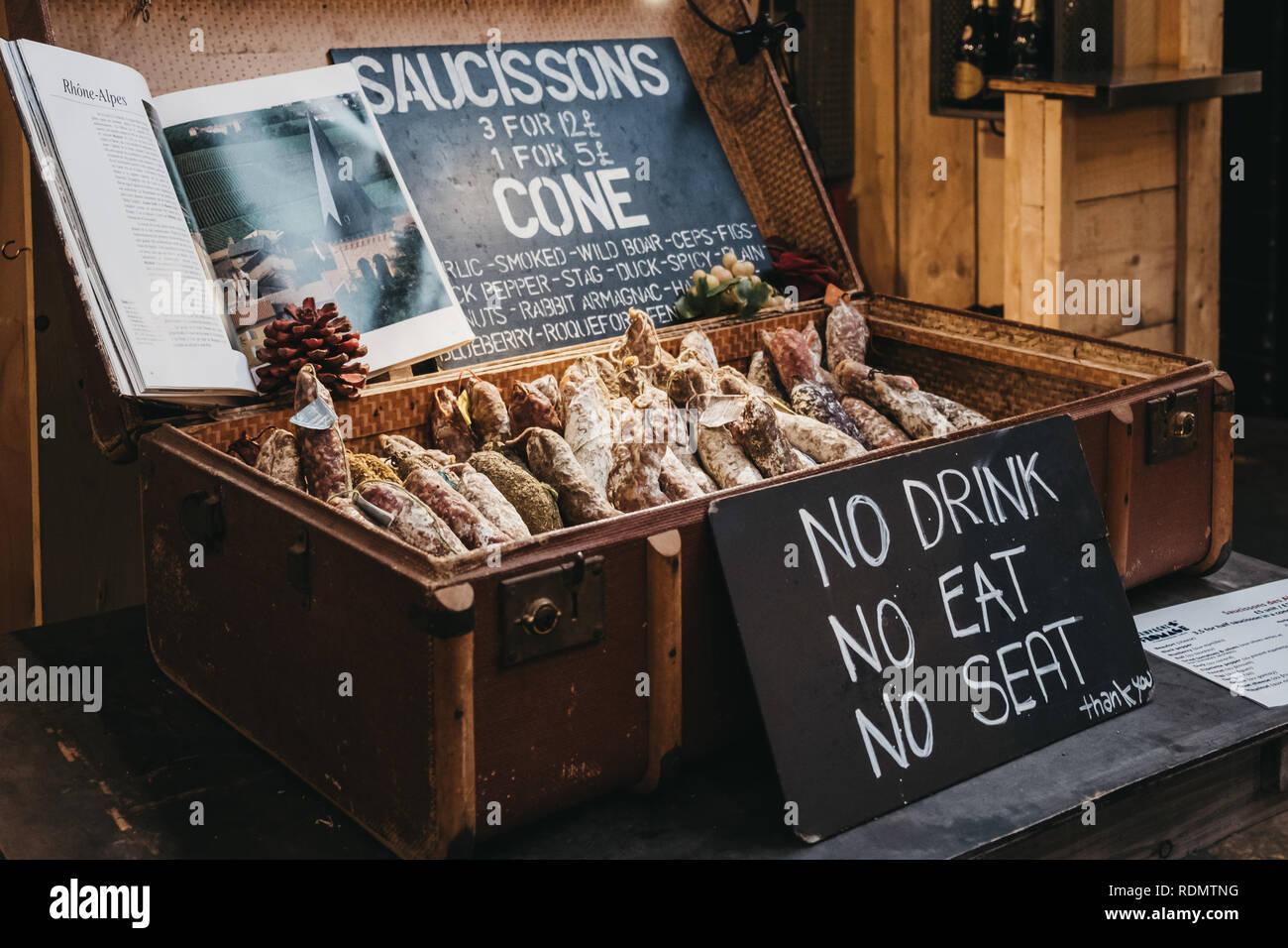 London, UK - January 13, 2019: Saucissons on sale at Mercato Metropolitano, sustainable community market in London focused on revitalising the area an - Stock Image