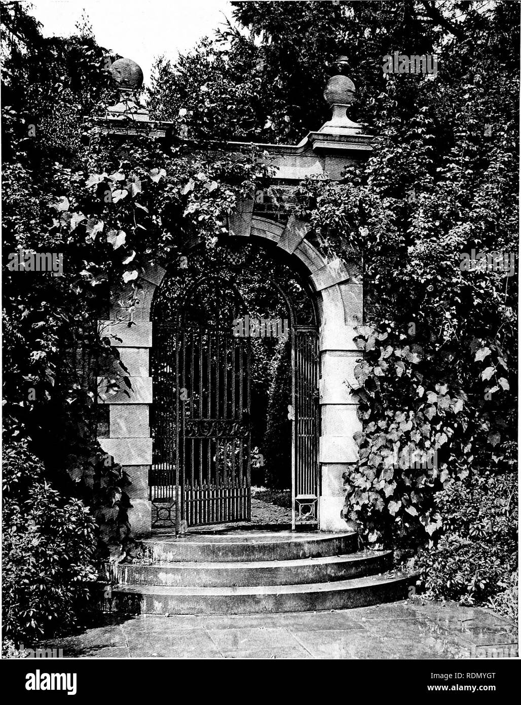 . Gardens for small country houses. Gardens. 114 Gardens for Small Country Houses.. FIG. 150. —STONE GATEWAY MODERATELY CLOTHED.. Please note that these images are extracted from scanned page images that may have been digitally enhanced for readability - coloration and appearance of these illustrations may not perfectly resemble the original work.. Jekyll, Gertrude, 1843-1932; Weaver, Lawrence, Sir, 1876-. London, Country Life [etc. ]; New York, C. Scribner's Sons - Stock Image