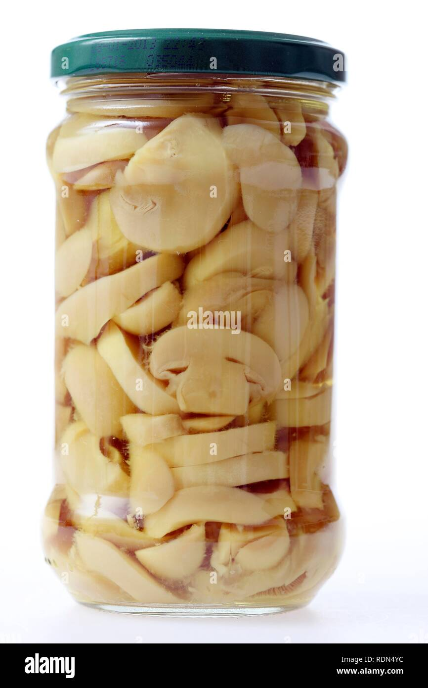 Mushrooms, sliced, conserved in glass packaging - Stock Image