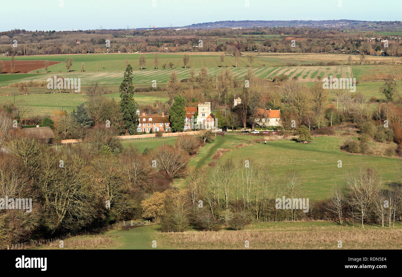 English Rural Hamlet of Little Wittenham in Oxfordshire bathed in Winter sunshine - Stock Image