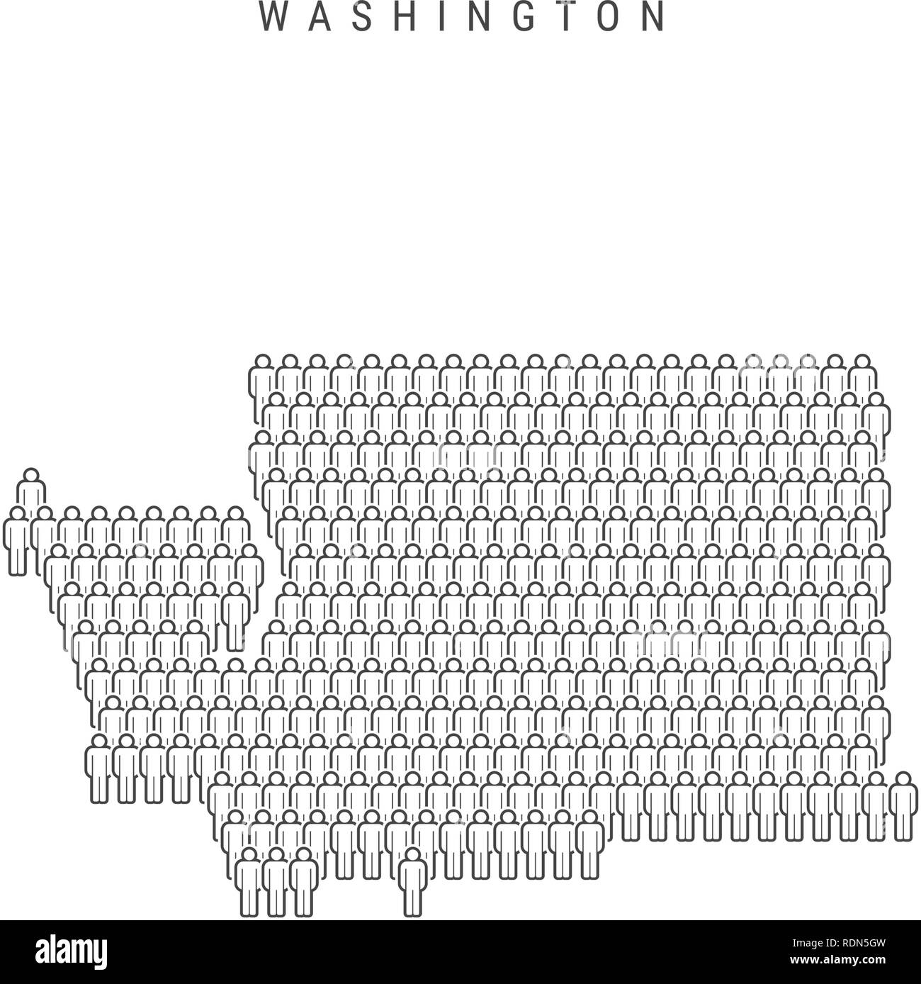 Vector People Map of Washington, US State. Stylized Silhouette, People Crowd. Washington Population - Stock Vector