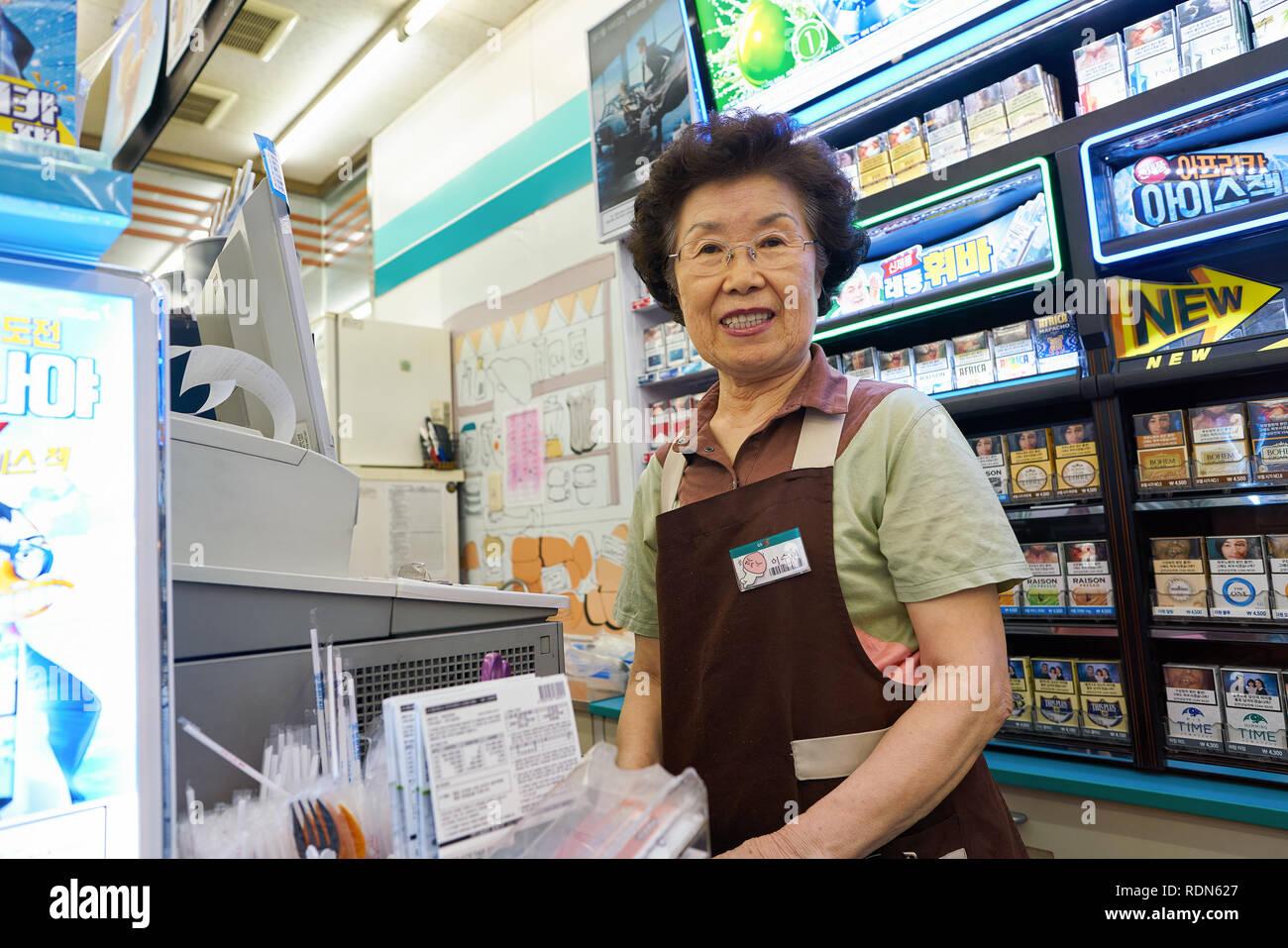 SEOUL, SOUTH KOREA - CIRCA MAY, 2017: inside GS25 convenience store in Seoul. GS25 is a convenience store brand in South Korea. Stock Photo