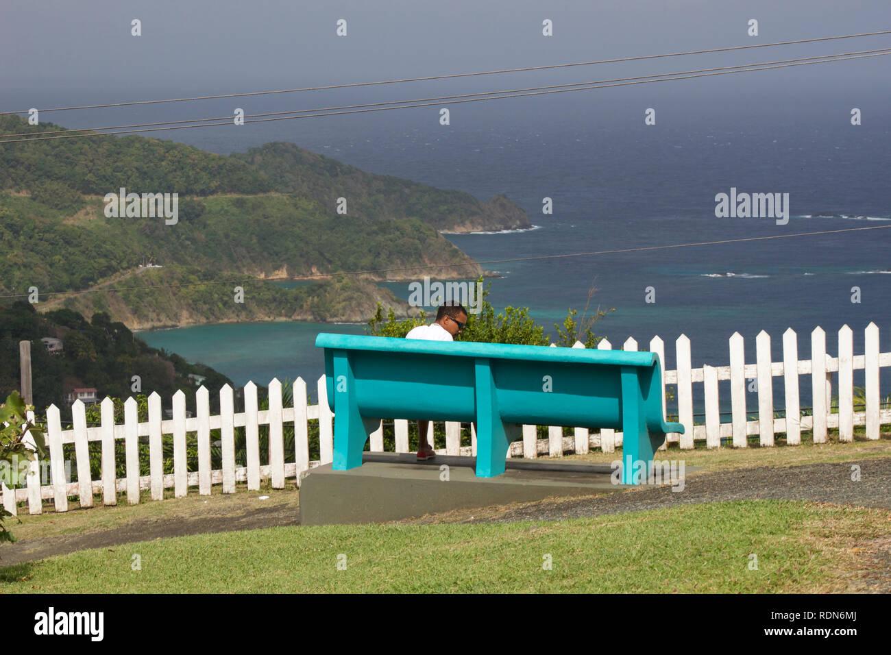 Man Enjoying View at Speyside, Tobago - Stock Image