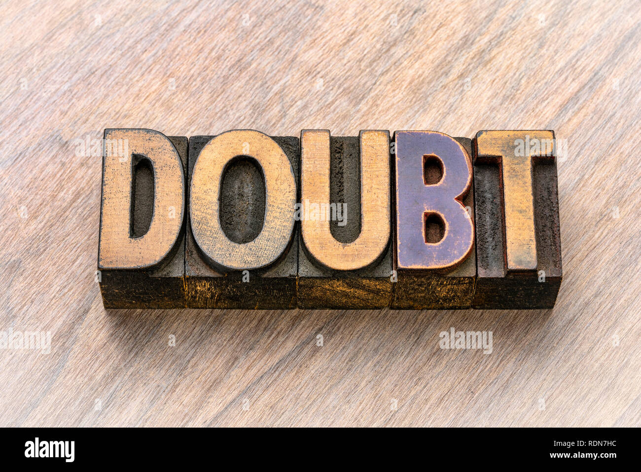 doubt word in vintage letterpress wood type printing blocks Stock Photo