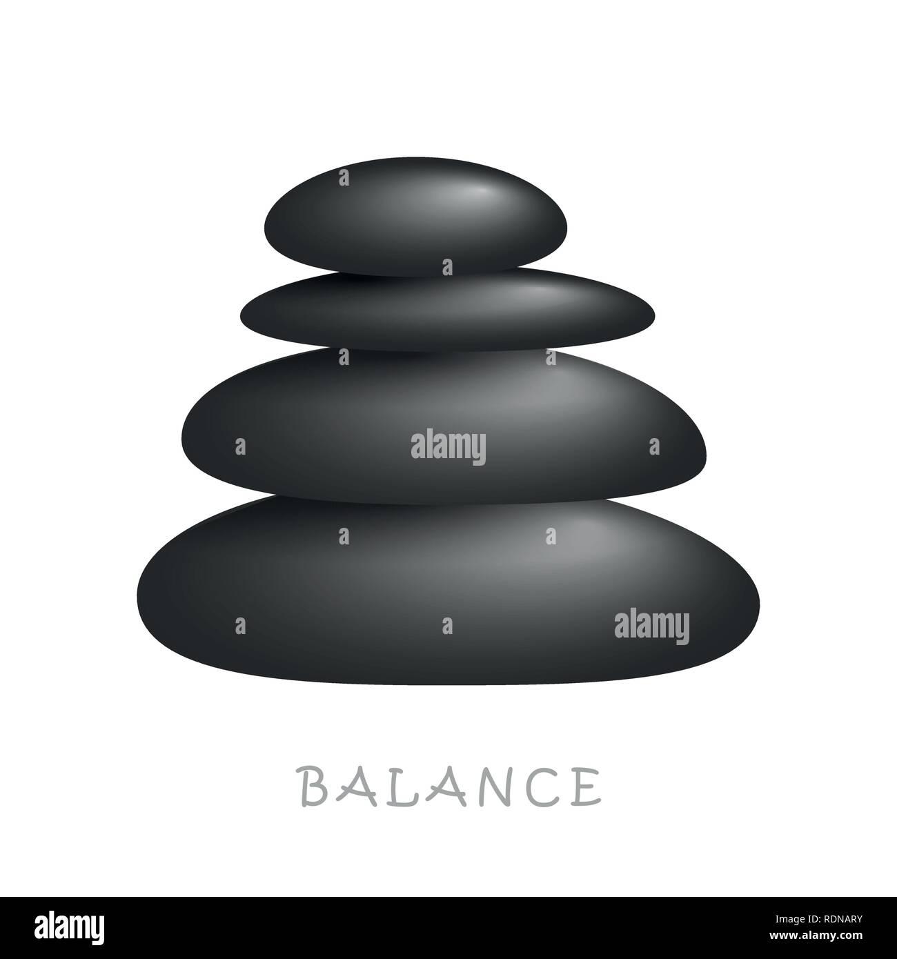 black zen massage stones balance on white background vector illustration EPS10 - Stock Vector