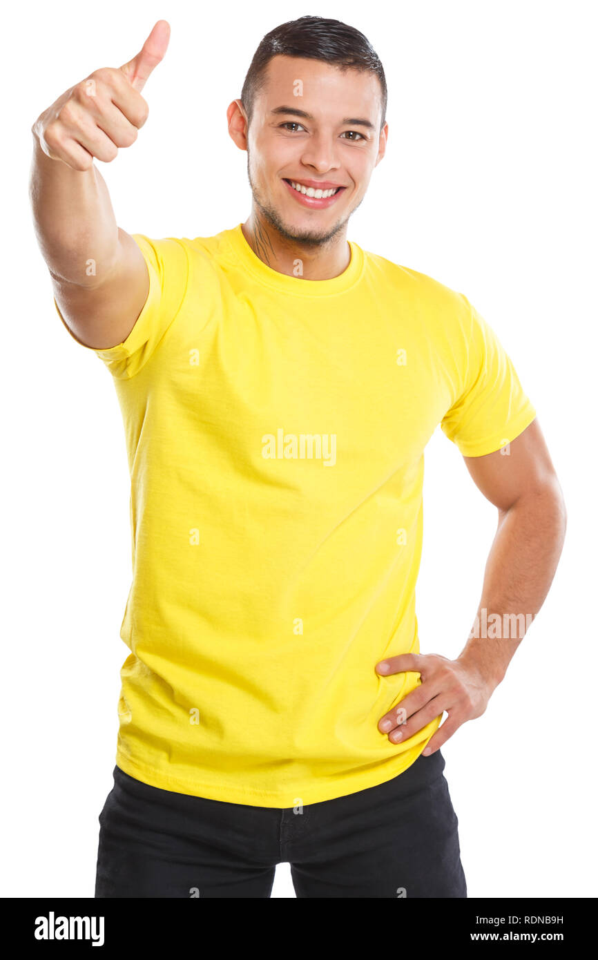 Young man success thumbs up successful smiling people isolated on a white background - Stock Image