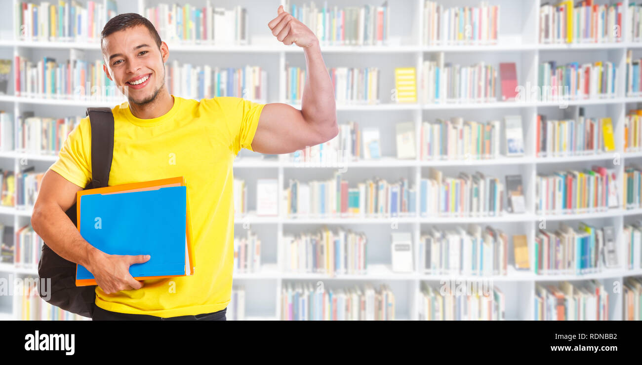 Student young man success successful banner strong power library education people learning - Stock Image
