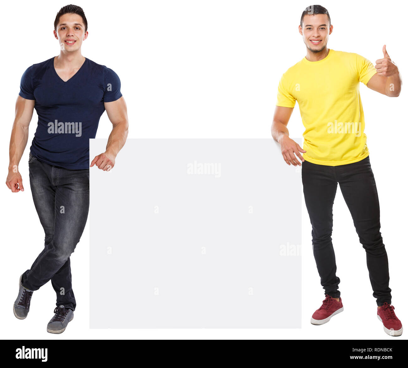 Young men success successful copyspace marketing ad advert empty blank sign isolated on a white background - Stock Image