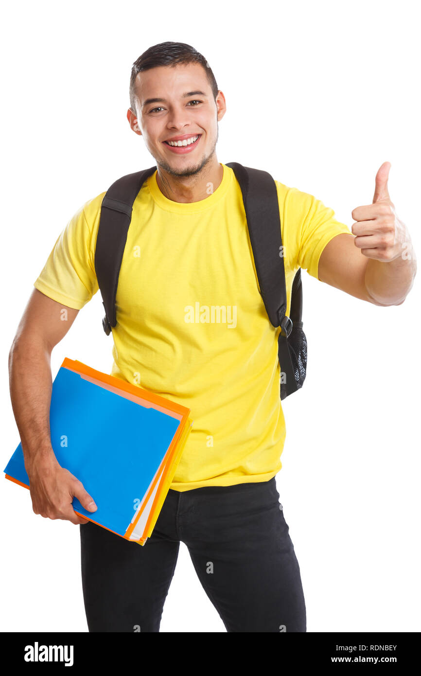 Student young man success successful thumbs up smiling people isolated on a white background - Stock Image