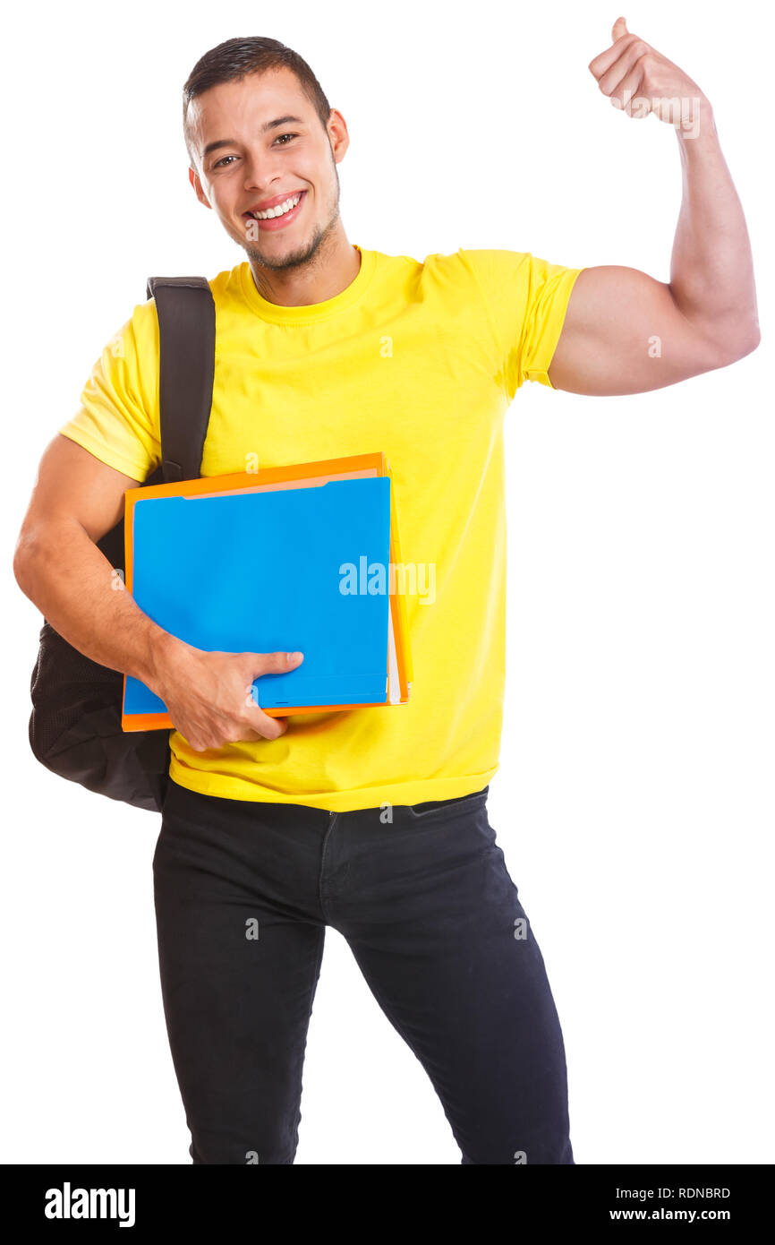 Student young man success successful strong power people isolated on a white background - Stock Image