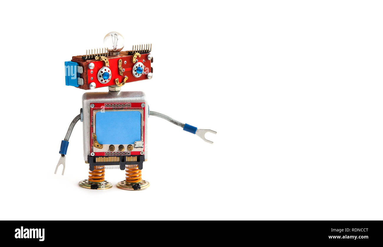 Creative design robot on white background. Red head robot toy with empty blue screen, copy space - Stock Image