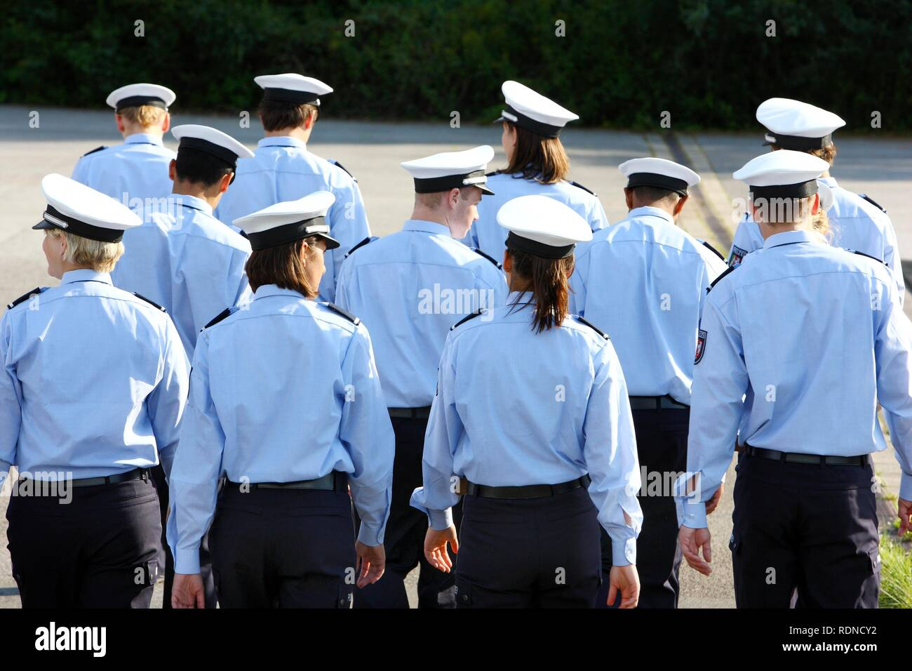 Police trainees, Commissioner candidates, on the way to a training hour in the first year of training - Stock Image