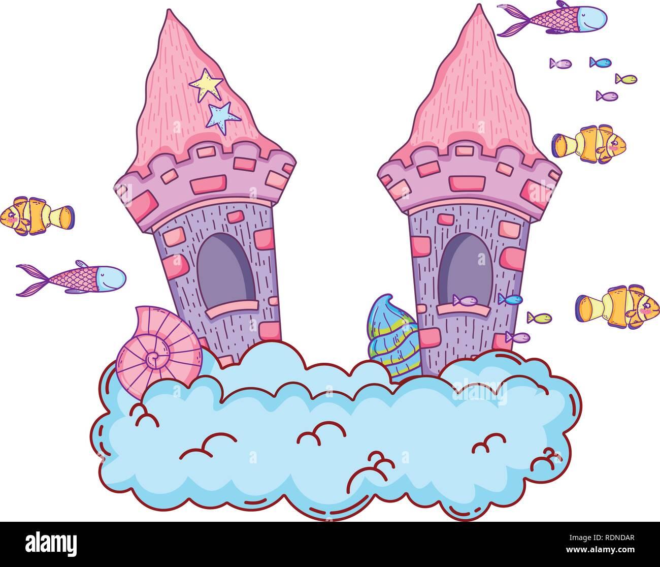 cute fairytale castle in the cloud undersea scene - Stock Image