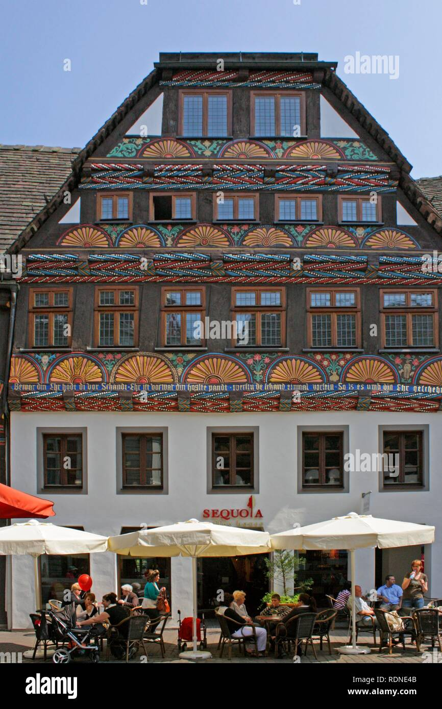 Half-timbered house in Hoexter, Weserbergland, Weser Uplands, Lower Saxony - Stock Image
