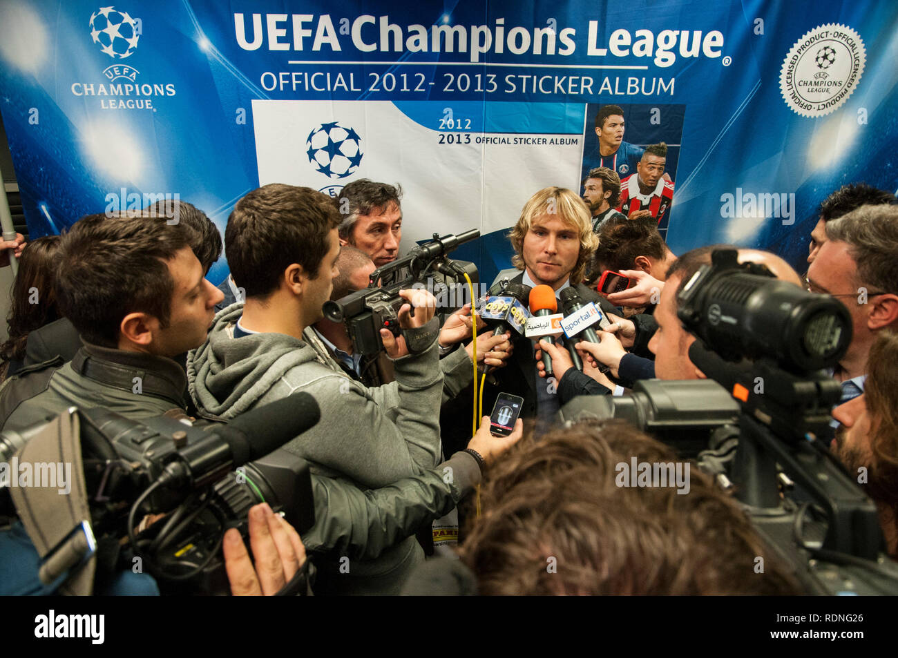 Pavel Nedved at the Panini Champions League 2012 album presentation - Stock Image