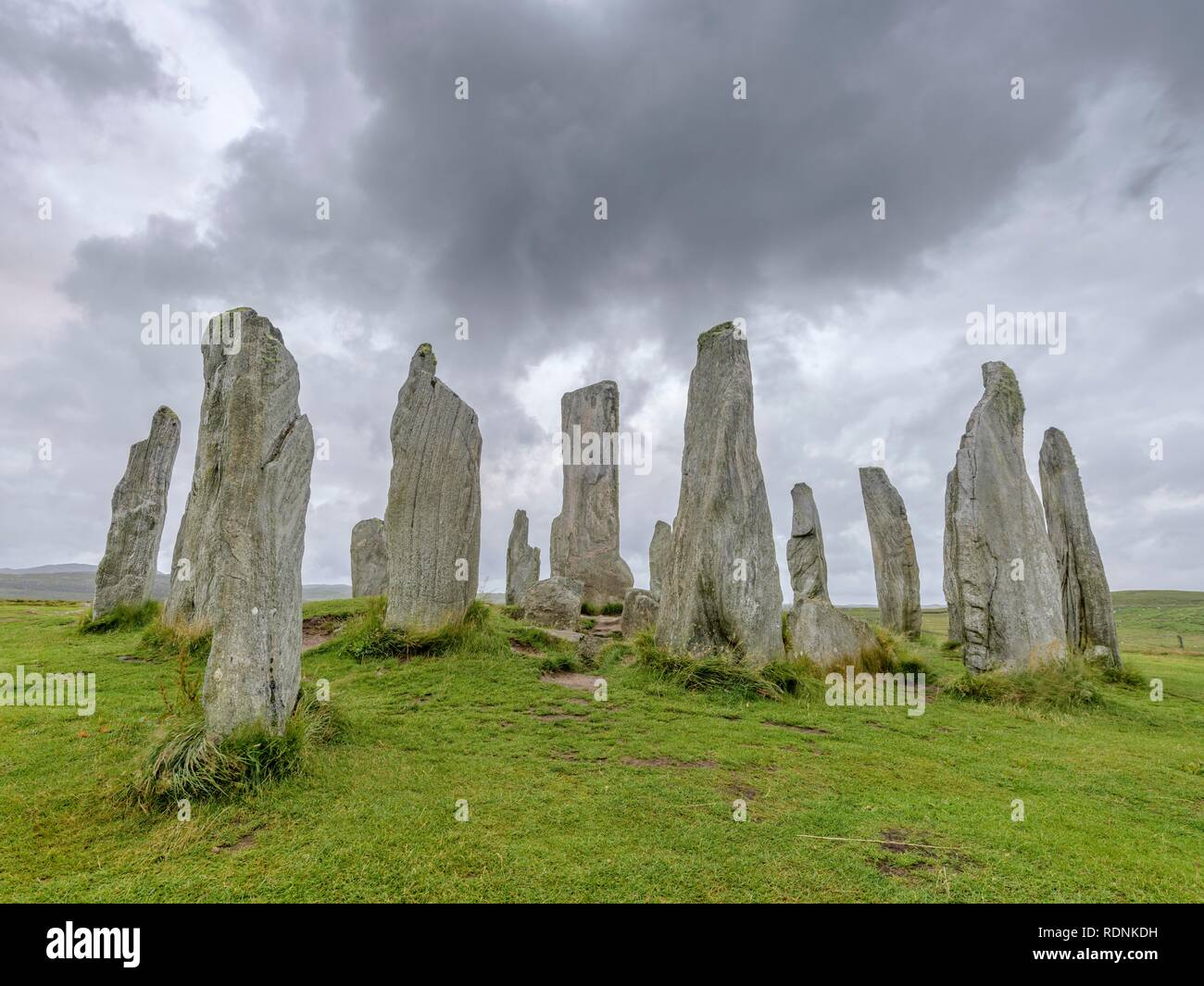 Callanish Standing Stones, Calanais, Lewis and Harris, Outer Hebrides, Scotland, United Kingdom - Stock Image