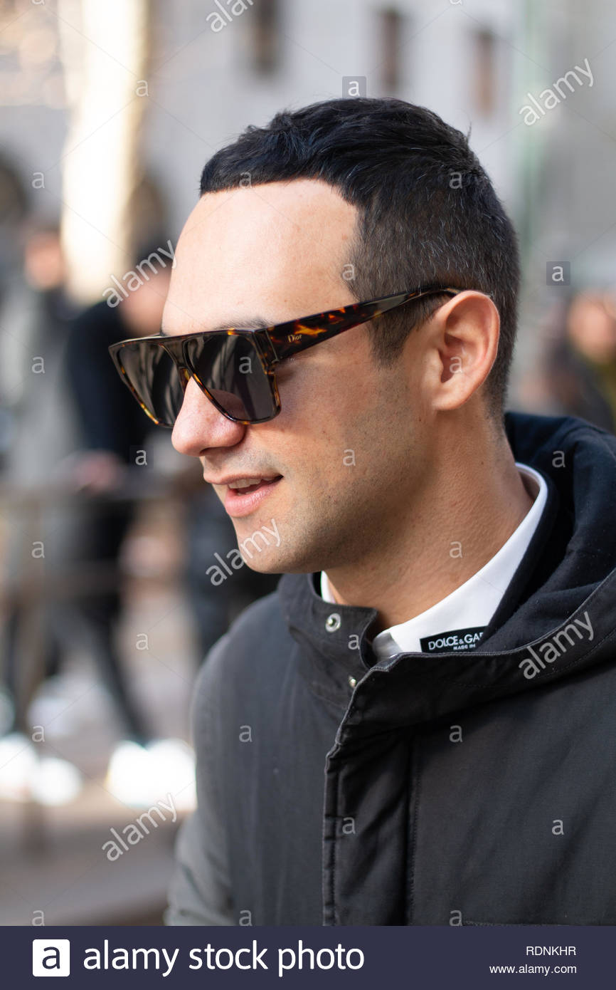 Milan, Italy. 12th January 2019. Italian singer Cosmo guest at Dolce & Gabbana Show during Milan Fashion Week Men's Fall/Winter 2019/20 - Stock Image