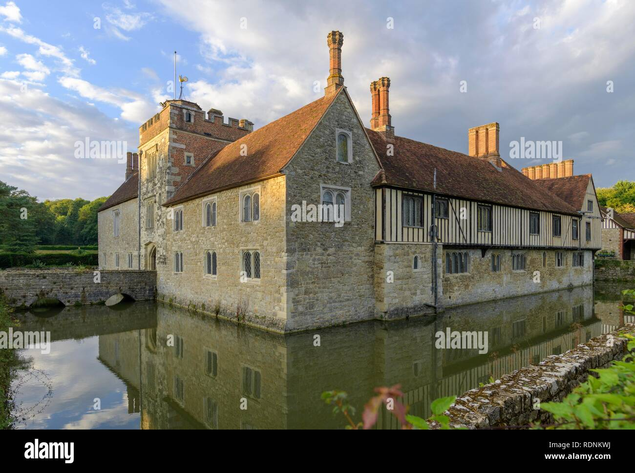 Moated Castle Ightham Mote, Tonbridge and Malling, England, United Kingdom - Stock Image