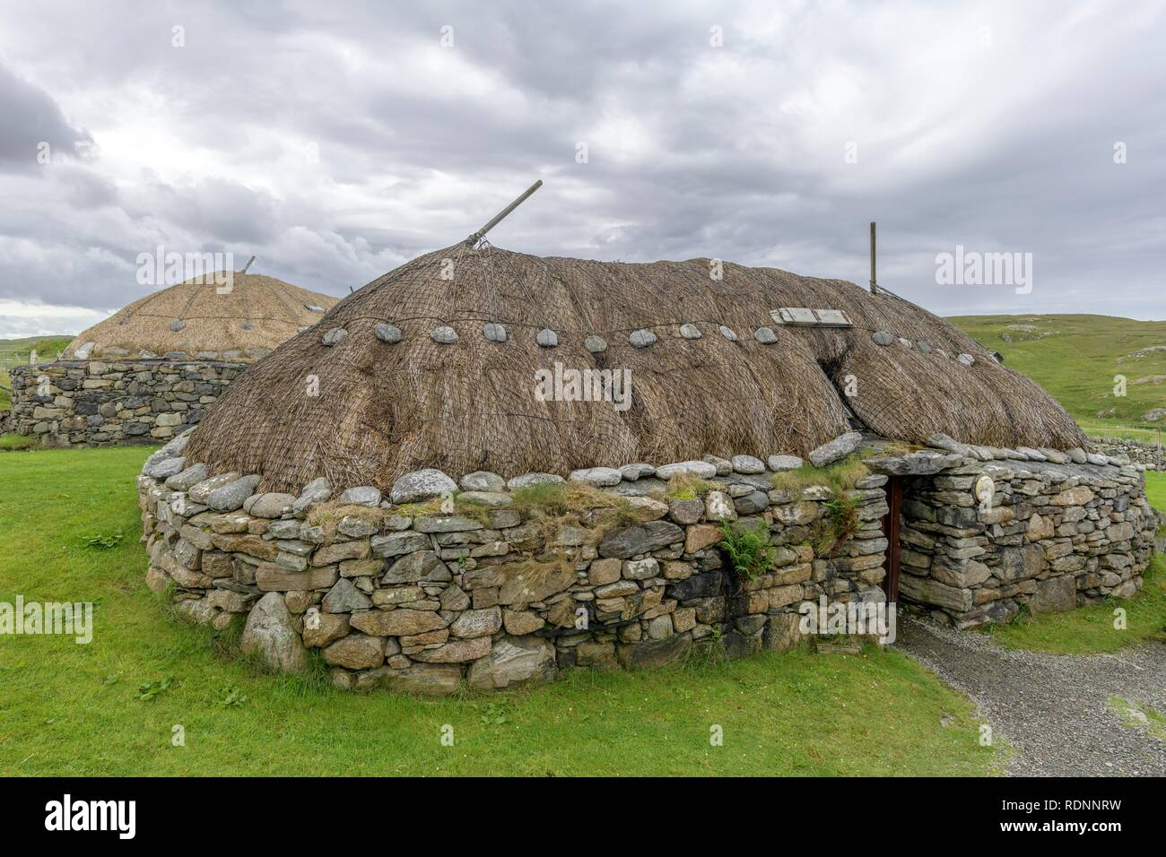 Gearrannan Blackhouse Village, Lewis and Harris, Outer Hebrides, Scotland, United Kingdom - Stock Image