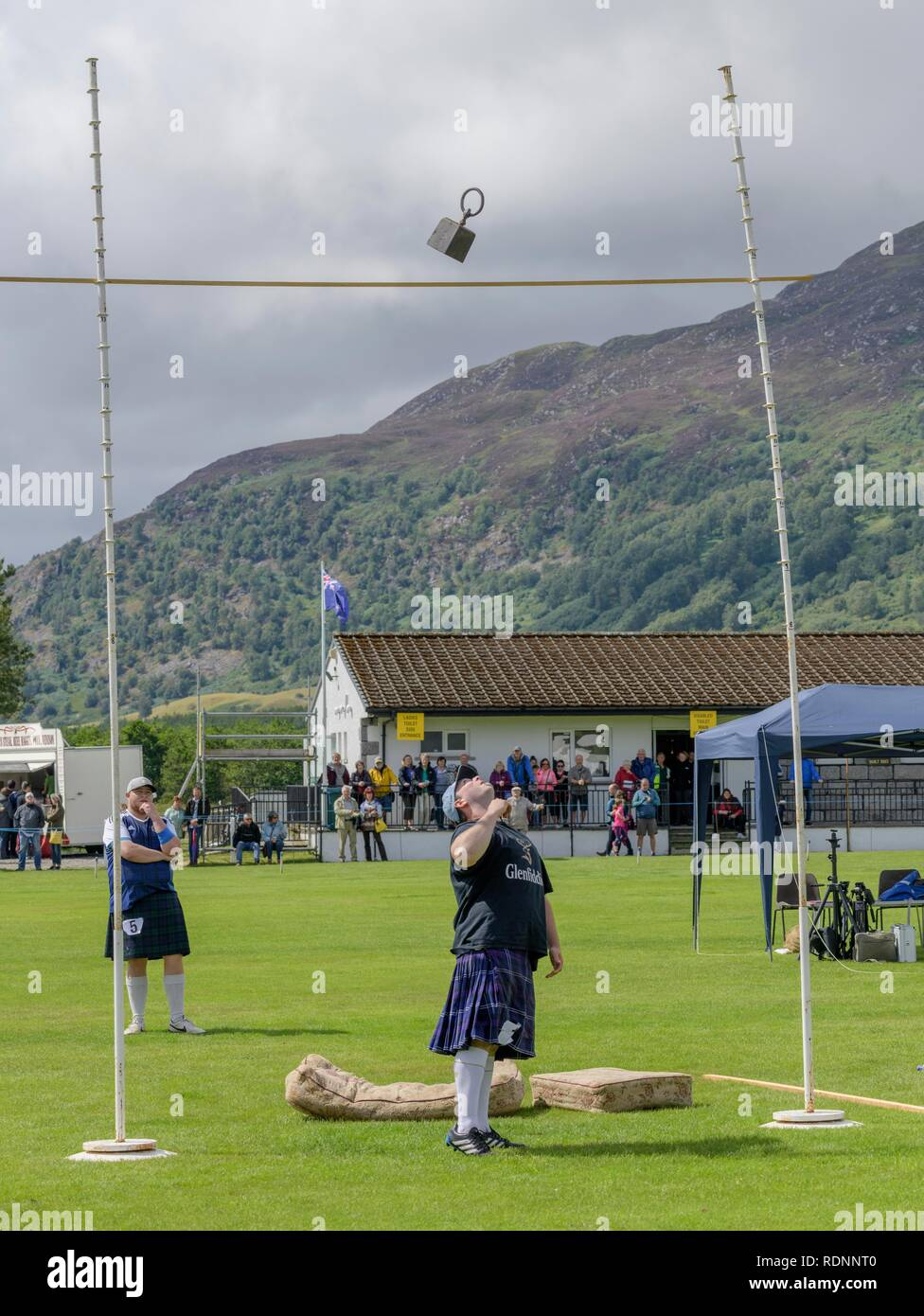 Weight for height contest, Highland Games, Newtonmore, Scotland, United Kingdom - Stock Image